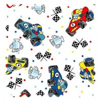 SheetWorld Fun Race Cars Fabric - By The Yard by sheetworld