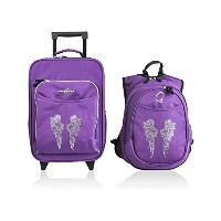 Obersee Kids Luggage and Backpack with Integrated Cooler, Rhinestone Angel Wings (Discontinued by...