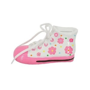 Stephan Baby Pink Floral Tennis Shoes Bank by Stephan Baby