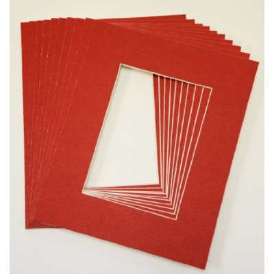 Pack of 25 sets of 8x10 RED Picture Mats Mattes Matting for 5x7 Photo + Backing + Bags