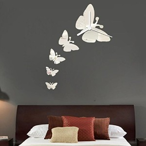 Oksale Butterfly Clock DIY Mirror Wall Stickers Papers Mural Decor Decal Removable Bedroom Living...
