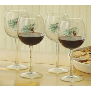 Pinecone 16 Oz Red Wine Glasses by Persis Clayton Weirs