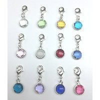 1 Set Clip On Birthstone Dangle Charms 10mm Austrian Crystal Beads with Lobster Clasp (12 birthstone...