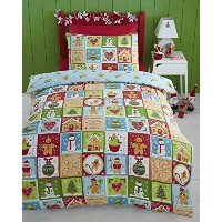 Gingerbread Christmas Xmas Tree Snowman Quilt Duvet Cover and Pillowcase Bedding Bed Set, Multi...