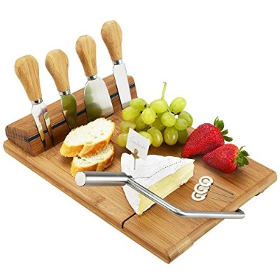 Bamboo Board Set with Wire Cheese Slicer, 4 Stainless Steel Tools & Cheese Markers - 32cm x 29cm x...