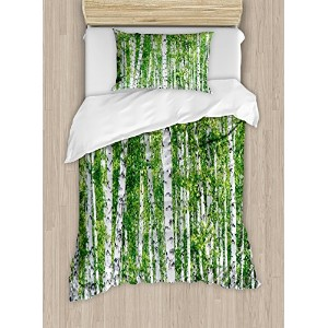 Birch Tree布団カバーセットby Ambesonne、Fresh Green Leaves SummerフォレストRural Landscape Lush環境イメージ、装飾寝具セットwithピ...