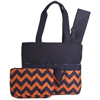 Orange Navy Chevron Quilted Diaper Bag with Changing Pad and Accessory Case - 3 Pieces by NGIL