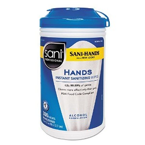 Sani-Hands Ii Sanitizing Wipes, 7 1/2 X 5 1/2, 300/canister by Sani Professional