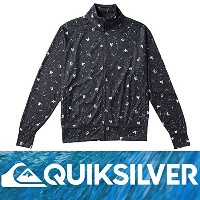 QUIKSILVER ラッシュガード(ジップアップ) MO ALLOVER ST BLK QLY161068 L