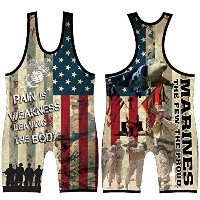 Marines Sublimated Wrestling Singlet :ユースと男性サイズ、by 4時間All American 4S グリーン