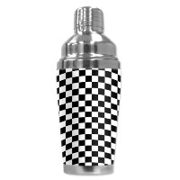 "Mugzie 503-sha "" Checkered Flag "" Cocktail Shaker with Insulatedウェットスーツカバー、16オンス、ブラック"