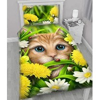 WSH ' Summer Cat '子供Duvet and Pillowcase Protector Coversセット