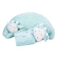 Maven Gifts: Turquoise Giraffe Baby Blanket and Curved Pillow Set by Maven Gifts