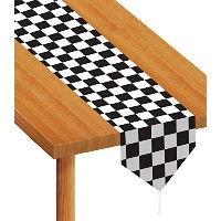 Beistle 54100 Printed Checkered Table Runner, 11-Inch by 6-Feet, Black/White by Beistle
