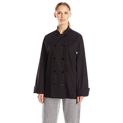Uncommon Threads 0413-0104 Classic 5.25 oz Poplin Chef Coat in Black - Large