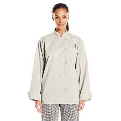 Uncommon Threads 0488-6605 Orleans Chef Coat in Stone - XLarge