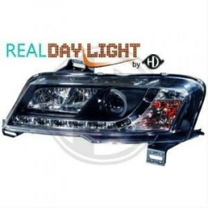 フィアット ヘッドライト Headlights with daytime running LED DRL FOR Fiat Stilo 01-08 Clear Black finish...