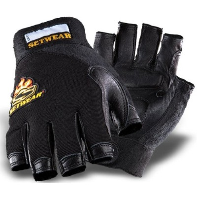 SetWear Genuine Leather Fingerless Gloves, Pair Large (Size 10) Approximatly 4-4.5 / 10.16-11.43cm,...