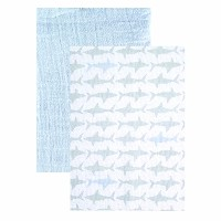 """Yoga Sprout Muslin Swaddle Blankets, Blue Shark, 46"""" x 46"""" by Yoga Sprout [並行輸入品]"""