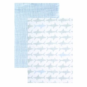 "Yoga Sprout Muslin Swaddle Blankets, Blue Shark, 46"" x 46"" by Yoga Sprout [並行輸入品]"