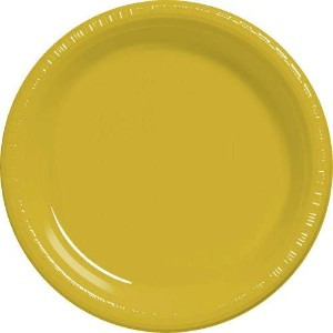 Amscan Big Party Pack 50 Count Plastic Dessert Plates, 7-Inch, Sunshine Yellow [並行輸入品]