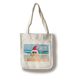 Warmest Holiday Wishes – Snowman on Beach Canvas Tote Bag LANT-77669-TT