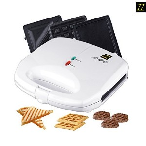 ZZ S61421-W 3 in 1 Sandwich Waffle and Breakfast Maker with Non-stick Plates, White [並行輸入品]