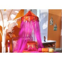 Tangerine Orange & Fuschia Bed Canopy 96 Drop by Bacati