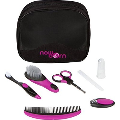 Baby Grooming Kit - 7 Piece Set for Infants with Carry Bag (Purple) by Now Born
