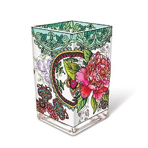 Amia 42008 Hand-Painted Glass Vase with Peony Floral Design, 6-Inch [並行輸入品]
