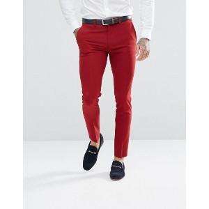 ASOS Super Skinny Fit Suit Pants In Red