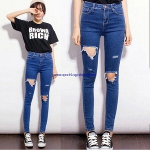 Women High Waist Skinny Jeans Holes Denim Ripped Boyfriend Jeans Pencil Pants