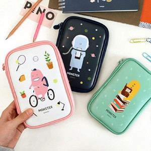 [Made In Korea][SWEET MANGO] INDIGO Monster Pencil Pouch (Wide) - [ Pen Pouch Pencil Box Pencil Case ペンケース 韓国 ペンポーチ 筆箱 文房具 ポーチ バッグ かわいいペンケース ファンシー 学用品 ]