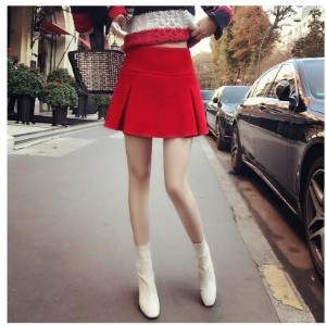 2017 autumn and winter new European and American wild Western red high waist wool A word skirt pants
