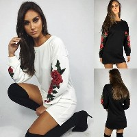 Autumn Winter Women Fashion Embroidery Casual Loose Pullover Long Sleeve T Shirt Dress
