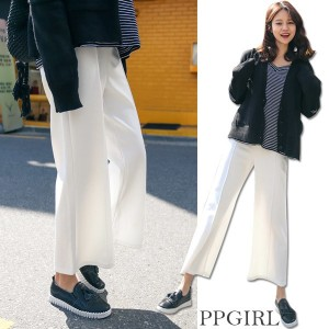 送料 0円★PPGIRL_9533 Wide pin tuck pants / slacks / waist band slacks / ankle length pants / straight