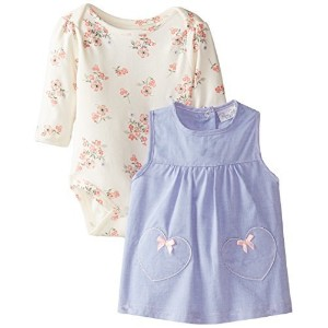 Rene Rofe Baby Baby-Girls Newborn Heart and Floral Chambray Jumper with Bodysuit Multi 3-6 Months