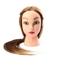 27 Female Dummy Head Long Hair Hairdressing Training Head Model with Clamp Golden Yellow