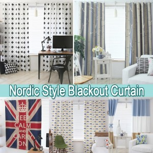 Nordic Pattern 20Colors 3-ply Full dull Blackout Window Curtain★Hook Type★High-Quality★Sunlight...