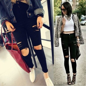 New High Waist Women Knee Skinny Pencil Pants Slim Denim Ripped Boyfriend Jeans