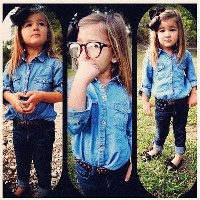 New girls baby kids 2pcs summer autumn spring clothing sets Denim shirts + jeans pants outwear outfi