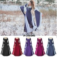 9 Color Women Medieval Dress Light Blue Vintage Style Gothic Dress Floor Length Women Cosplay Dresse