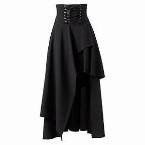 Ladies Gothic Style Bandage Black High Waist Dress Long Skirt