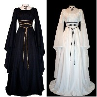 Women Medieval Renaissance Retro Gown Cosplay Costume Dress Long Lseeve Maxi Bandage Dresses New Fas