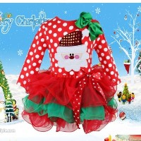 Christmas Dress Child Kids Girls Long Sleeve Santa Party Tops 1-6Y Clothes