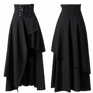 Brand New Women s Gothic Style Bandage Black High Waist Dress Long Skirt