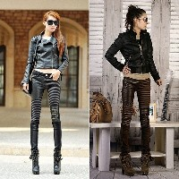 2017 Women s Fashion Leather Jeans Casual Silm Pants Feet Plus Size