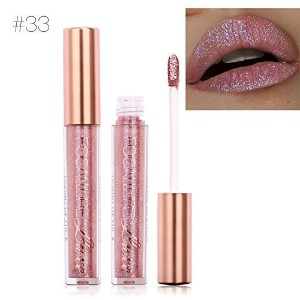 TOPBeauty Fashion Women Glitter Lip Makeup Waterproof Lip Gloss Nude Glitter Shimmer Focallure Li.