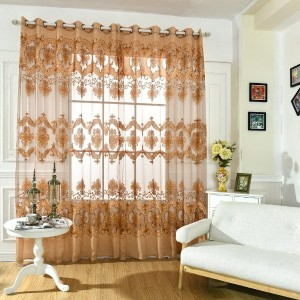 Anself Fashion French Window Jacquard Burnt-out Half Shading Voile Curtain for Door Window Room Deco