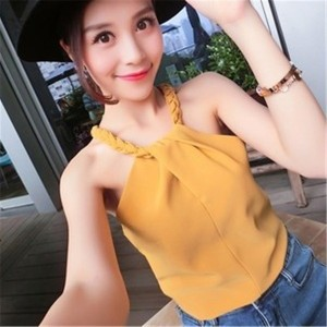 Women Sexy Sleeveless Knit Halter Camisole Bottoming Shirt Sexy Strapless Short Shirt